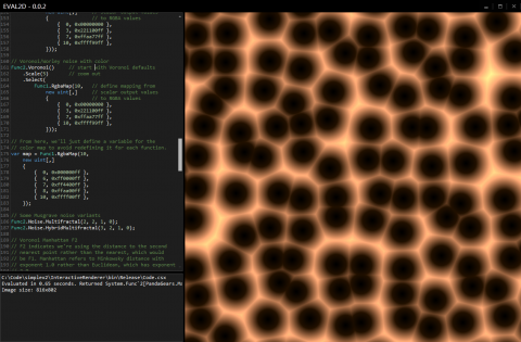 Screenshot of Eval2D showing code view and Voronoi noise.